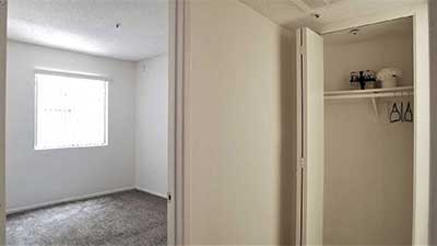 Broadway Apartments bedroom and hall way closet